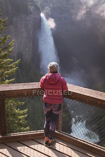 Vista posteriore della donna che esamina cascata — Foto stock