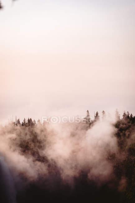 Nuages avec cascade par une journée ensoleillée, parc national Banff — Photo de stock