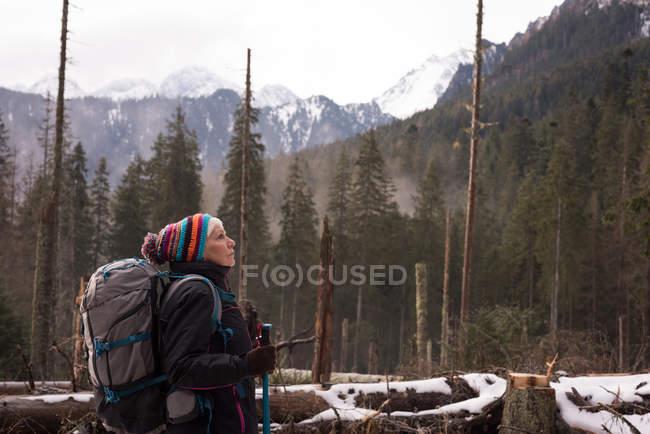 Ragionevole donna anziana in piedi con zaino e palo da trekking durante l'inverno — Foto stock