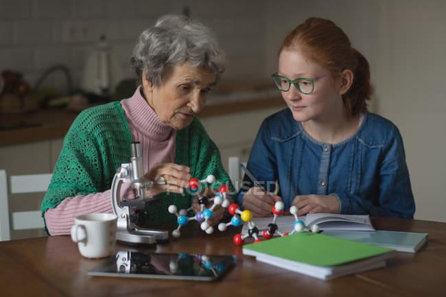 Бабушка помогает внучке с домашней работой на кухне — стоковое фото