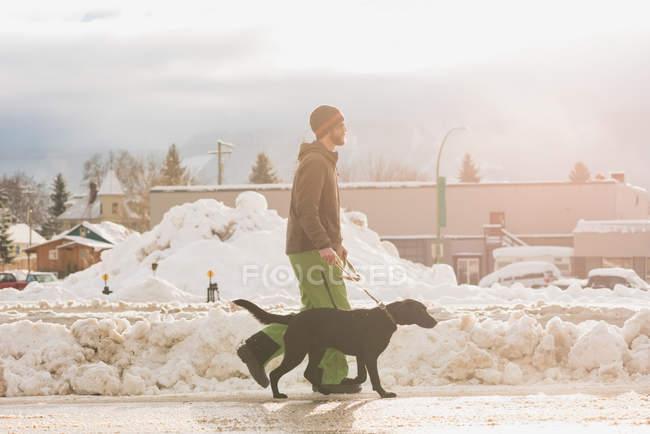 Mann geht im Winter mit Hund auf Gehweg — Stockfoto