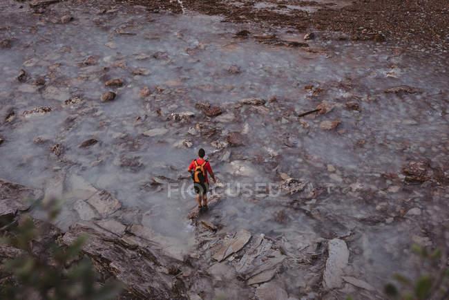 Vista traseira do homem em pé no fluxo — Fotografia de Stock