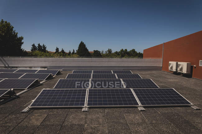 Solar panels at solar station on a sunny day — Stock Photo