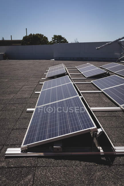 Solar panels at solar station on a sunny day — Stock Photo
