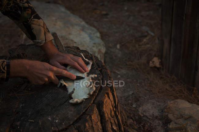 Uomo che taglia pelliccia animale con coltello sul tronco d'albero nella foresta — Foto stock