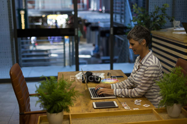 Mature businesswoman using laptop at desk in the office — Stock Photo