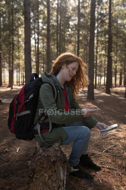 Seitenansicht einer Frau auf der Suche nach Kompass im Wald — Stockfoto