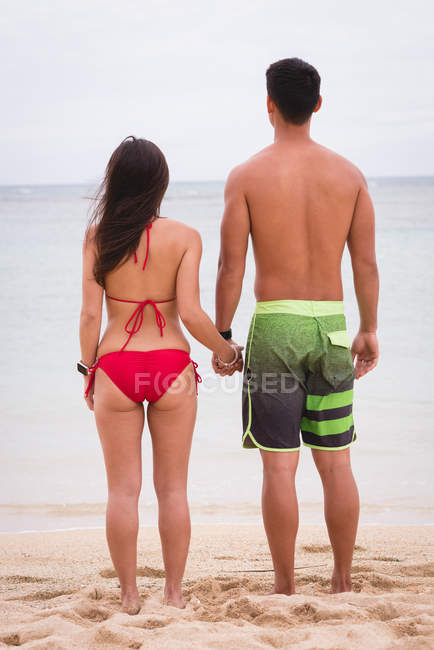 Rear view of couple standing together with hand in hand on the beach — Stock Photo