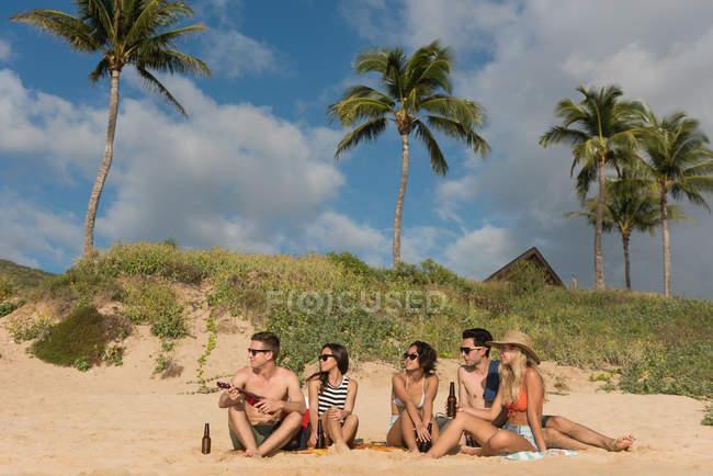 Grupo de amigos se divertindo na praia em um dia ensolarado — Fotografia de Stock
