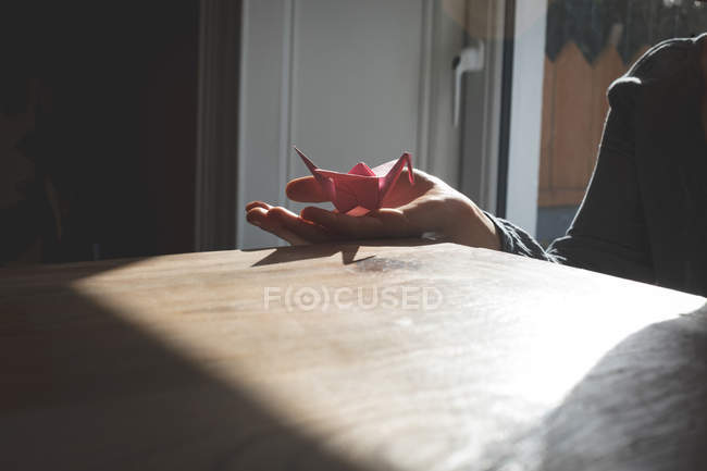 Woman showing origami in hand at home — Stock Photo