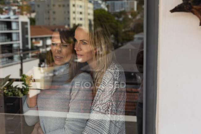 Lesbian couple embracing each other near window at home — Stock Photo