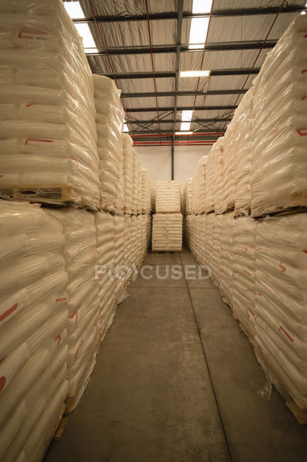 White cements arranged in warehouse — Stock Photo