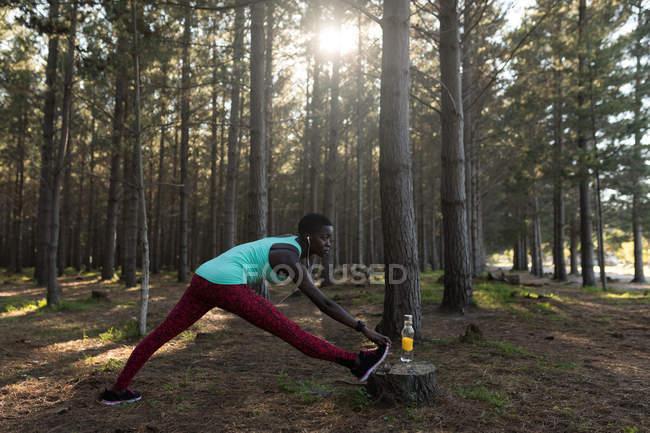 Решительная спортсменка, делающая упражнения на растяжку в лесу — стоковое фото