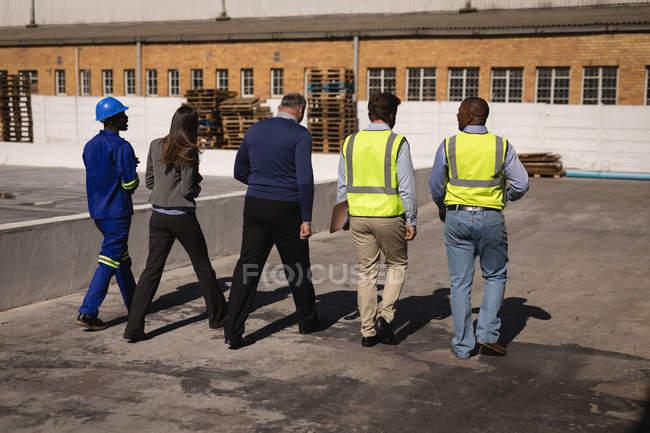 Visão traseira da equipe andando juntos em um dia ensolarado — Fotografia de Stock