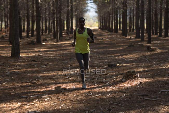 Решительная бегунья в лесу — стоковое фото