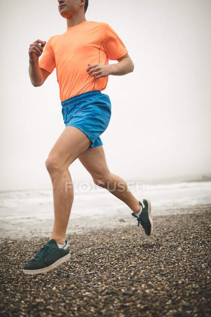 Низкая группа бегунов на берегу на пляже — стоковое фото