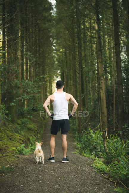 Rear view of man standing with his dog in lush forest — Stock Photo
