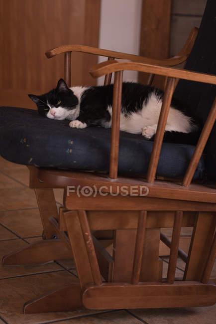 Расслабление на стуле дома — стоковое фото