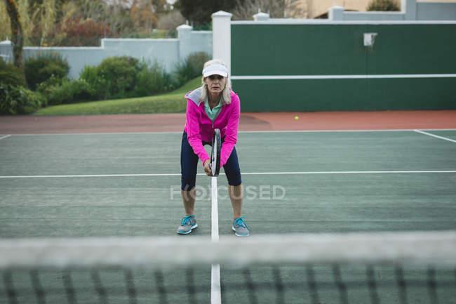 Retrato de mulher sênior jogando tênis na quadra de tênis — Fotografia de Stock
