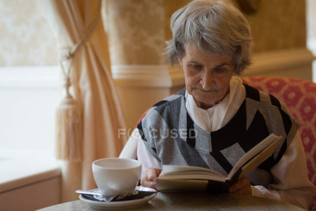 Senior woman reading a book at home — Stock Photo