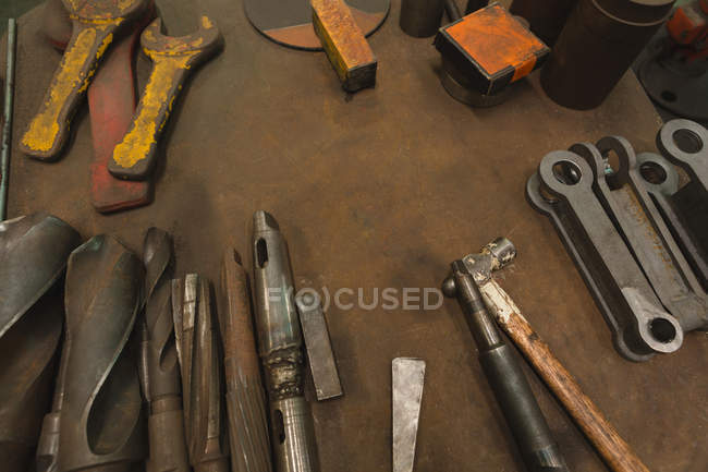 High angle view of various work tools on worktop — Stock Photo