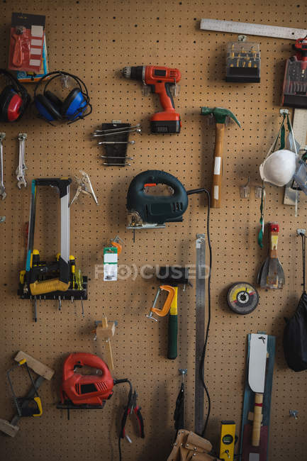 Variety of work tools in display at workshop — Stock Photo