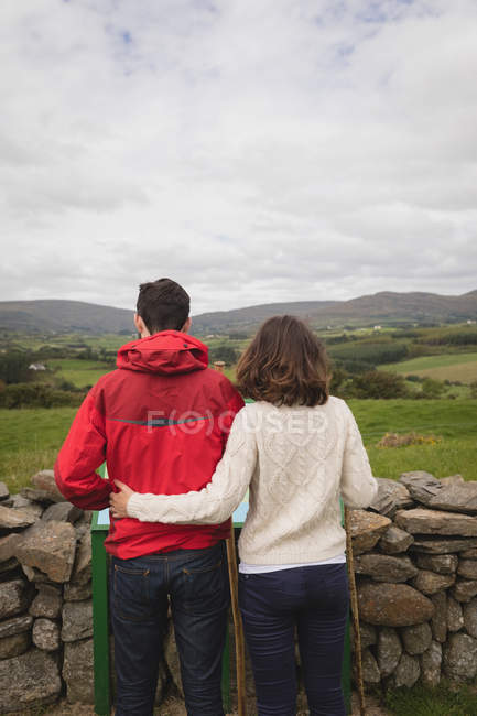 Rear view of affectionate couple looking at view — Stock Photo