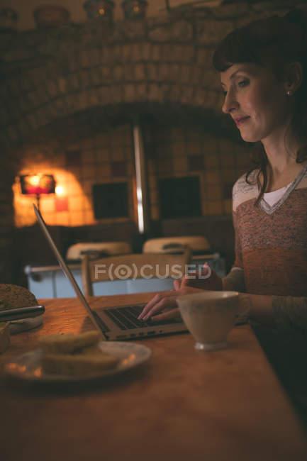 Femme utilisant un ordinateur portable tout en prenant le petit déjeuner à la maison — Photo de stock