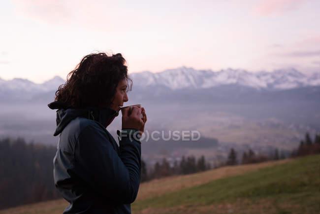 Задумчивая женщина пьет кофе в сельской местности зимой — стоковое фото
