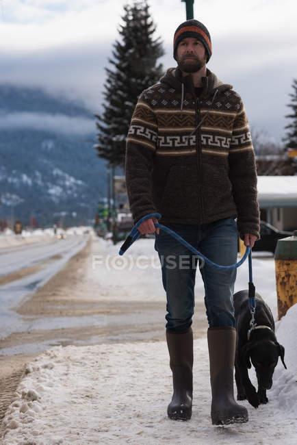 Homem caminhando com cão na calçada durante o inverno . — Fotografia de Stock