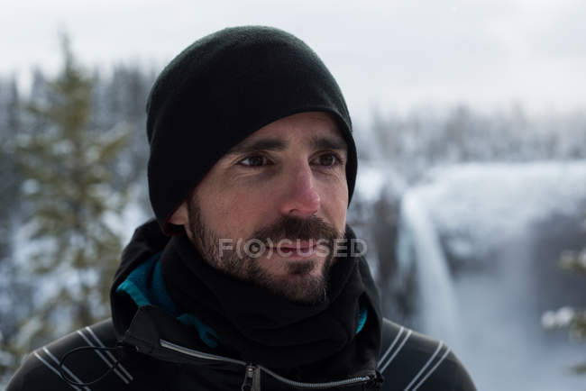 Young man in warm clothing during winter — Stock Photo