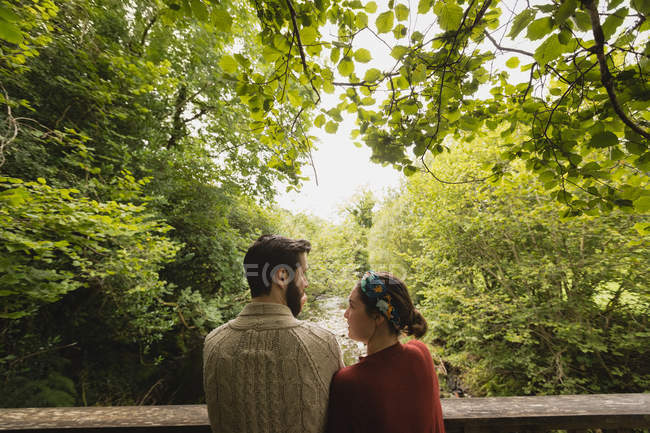 Rear view of affectionate couple interacting with each other — Stock Photo