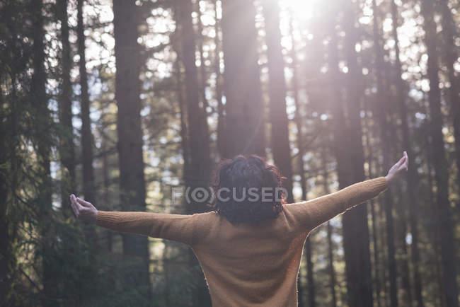 Vue arrière d'une randonneuse debout les bras tendus dans la forêt — Photo de stock