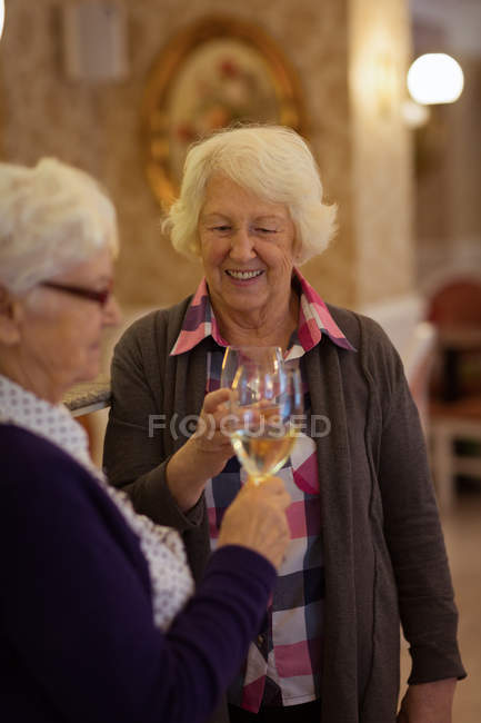 Senior friends toasting glasses of wine at home — Stock Photo