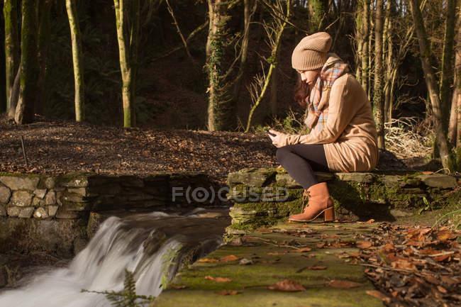 Donna con il telefono cellulare nella foresta — Foto stock