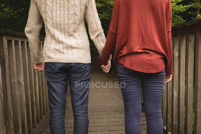 Mittelteil des Paares steht Hand in Hand auf Brücke — Stockfoto