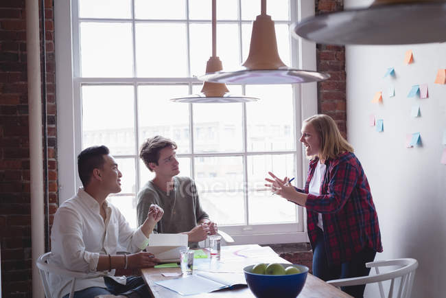 Executive having meeting in conference room at creative office — Stock Photo