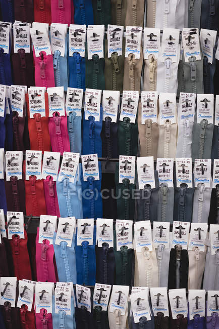 Close-up collection of various zip in tailor shop — Stock Photo