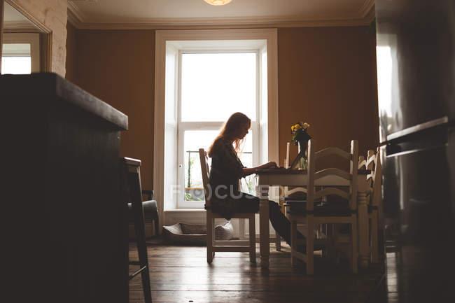 Vista laterale della donna che utilizza il computer portatile a casa — Foto stock