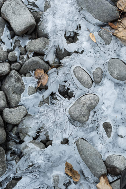 High angle view of beautiful frozen sea during winter — Stock Photo