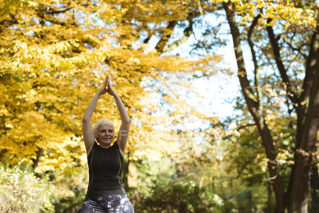 Senior woman practicing yoga in a park on a sunny day — Stock Photo