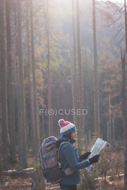 Escursionista donna che guarda la mappa in una giornata di sole — Foto stock