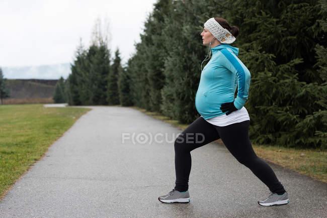 Беременная женщина, занимающаяся растяжкой в парке — стоковое фото
