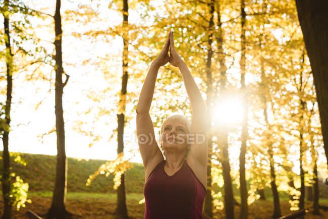 Mujer mayor practicando yoga en un parque en un día soleado - foto de stock