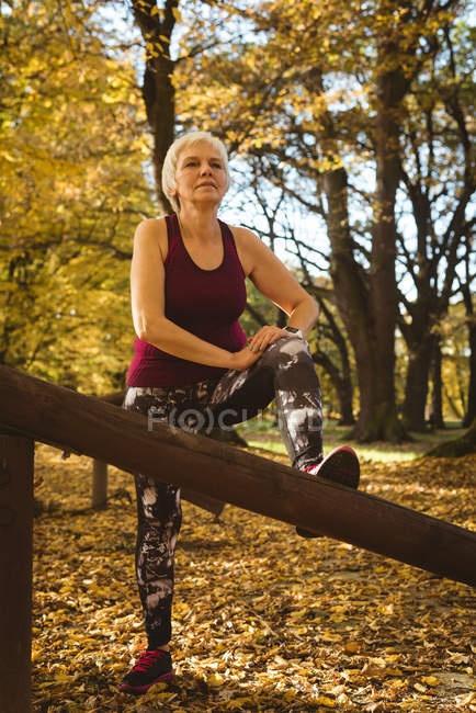 Senior woman practicing exercise in the park on a sunny day — Stock Photo