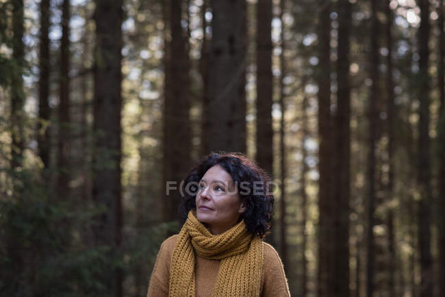 Thoughtful female hiker standing in forest — Stock Photo
