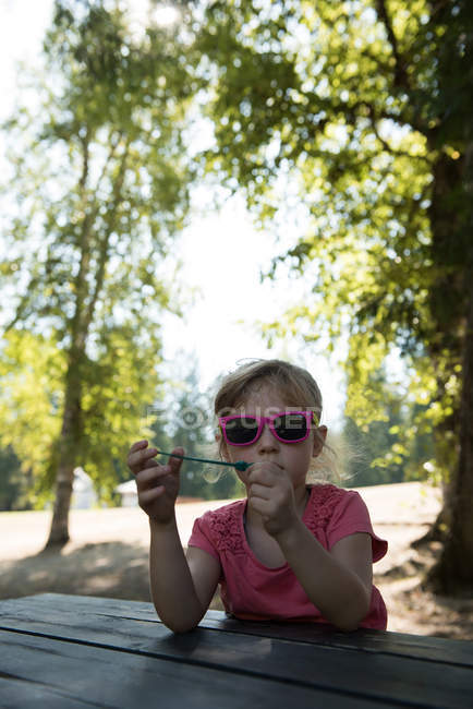 Cute girl holding bubble wand in park — Stock Photo