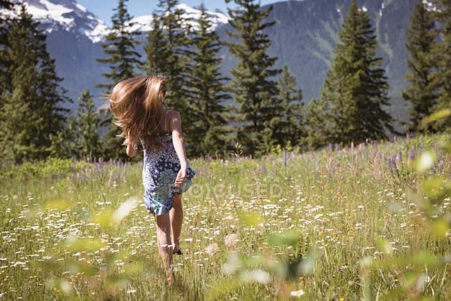 Vista posteriore della ragazza divertirsi e in esecuzione nel campo in estate. — Foto stock