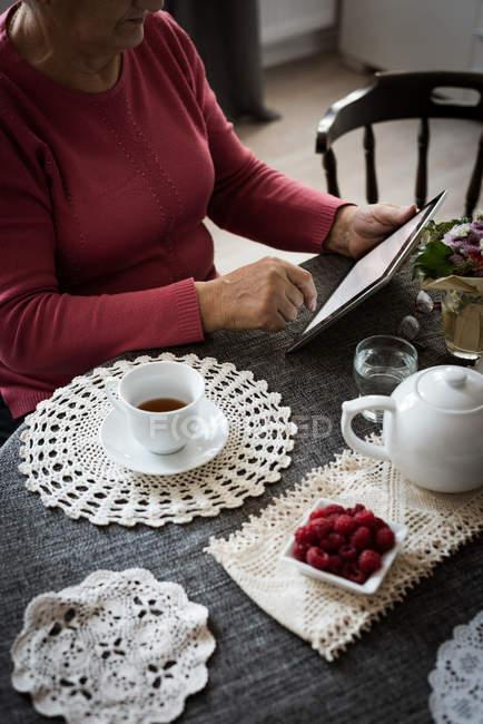 Средняя часть пожилой женщины с помощью планшета в гостиной на дому — стоковое фото