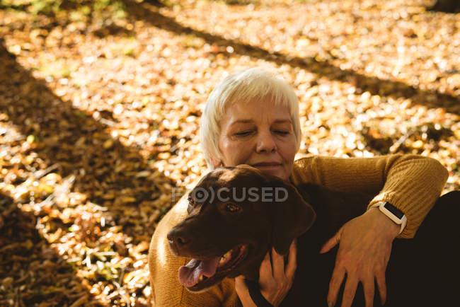 Donna anziana seduta a terra e accarezzare il suo cane da compagnia nel parco in una giornata di sole — Foto stock